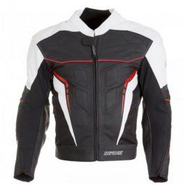 Usnjena moto jakna Cooper črno/bela/rdeča – Infine