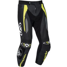 Motoristične usnjene hlače Vortex 2 črne/fluo rumene – Ixon