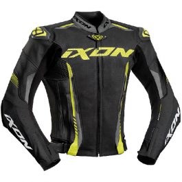 Motoristična usnjena jakna Vortex 2 črna/fluo rumena – Ixon