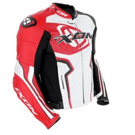 Motoristična usnjena jakna Falcon črna/bela/rdeča – Ixon