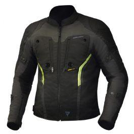 Moto jakna Borg črna/temno siva/fluo rumena – Rebelhorn