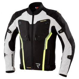 Moto jakna Borg črna/siva/fluo rumena – Rebelhorn