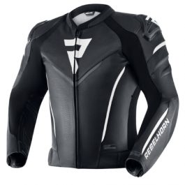 Usnjena moto jakna-Fighter-črno/bela-Rebelhorn